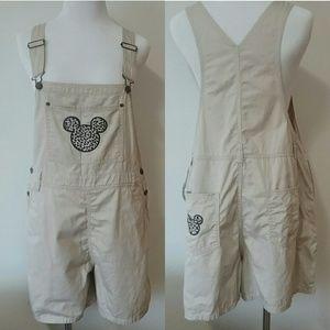 Disney Mickey Mouse Khaki Overall Shorts